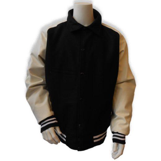 Zwart met witte leren mouwen baseball jas