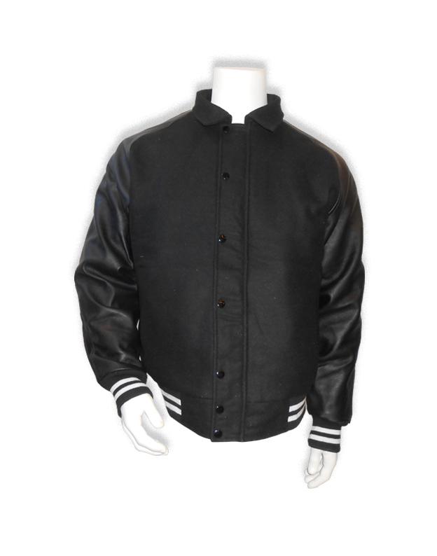 zwarte baseball jas met zwarte leren mouwen