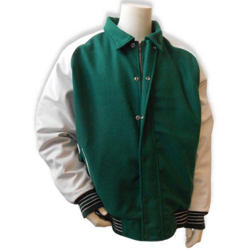 Donkergroen met witte leren mouwen baseball jas