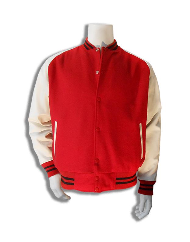 Rood met witte leren mouwen baseball jas