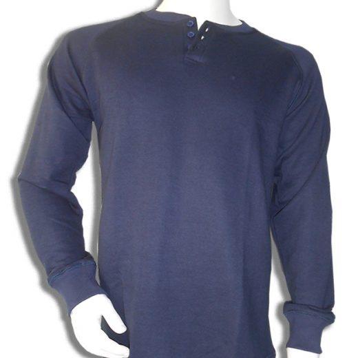 Bamboe sweater Henley donkerblauw