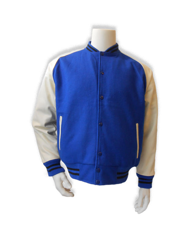 Blauwe baseball jas met witte leren mouwen.