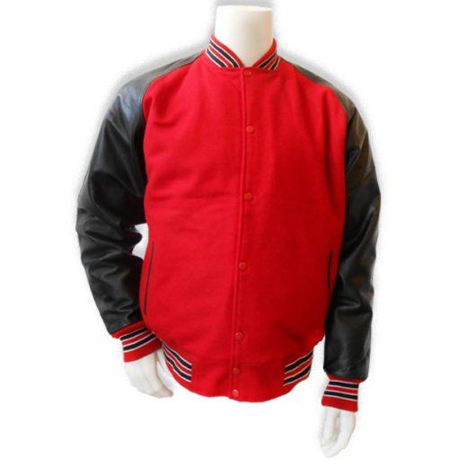 Rood met zwarte leren mouwen baseball jas