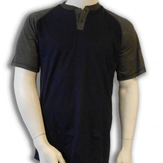 bamboe T-shirt donkerblauw met antraciet Henley