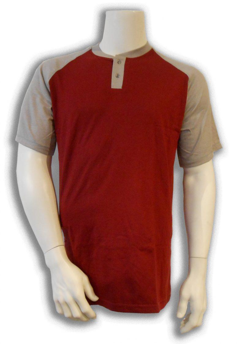 Bamboe T-shirt donkerrood met grijs Henley