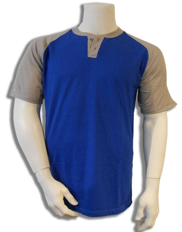 Bamboe T-shirt blauw met grijs Henley