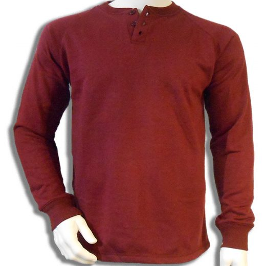 Bamboe sweater Henley donkerrood
