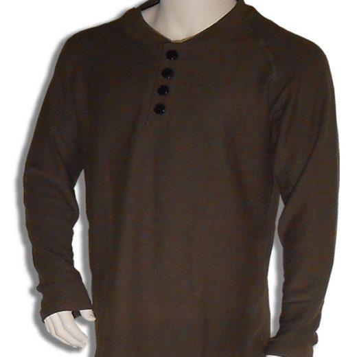 Bamboe sweater Henley olijf