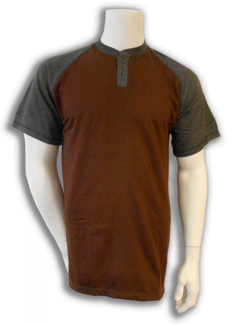 Bamboe T-shirt bruin met antraciet henley