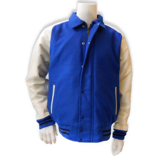 Blauw met witte leren mouwen baseball jas
