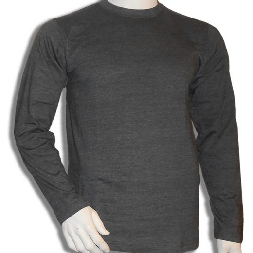 Bamboe longsleeve antraciet ronde hals