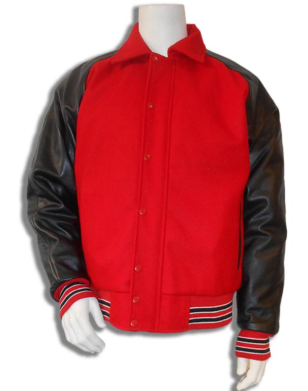 baseball jas Rood met zwarte leren mouwen