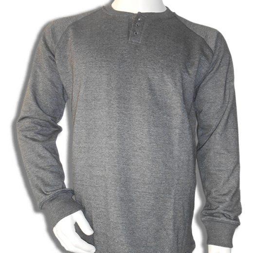 Bamboe sweater Henley, grijs