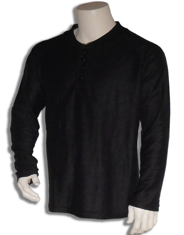 Bamboe sweater Henley zwart