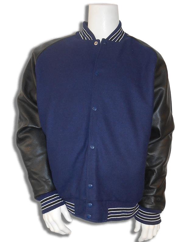 Baseball jas Donkerblauw met zwarte leren mouwen; 2 zwarte en 4 witte biezen