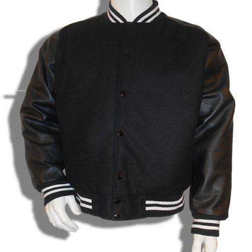 Baseball jas Zwart met zwarte leren mouwen; 2 witte biezen