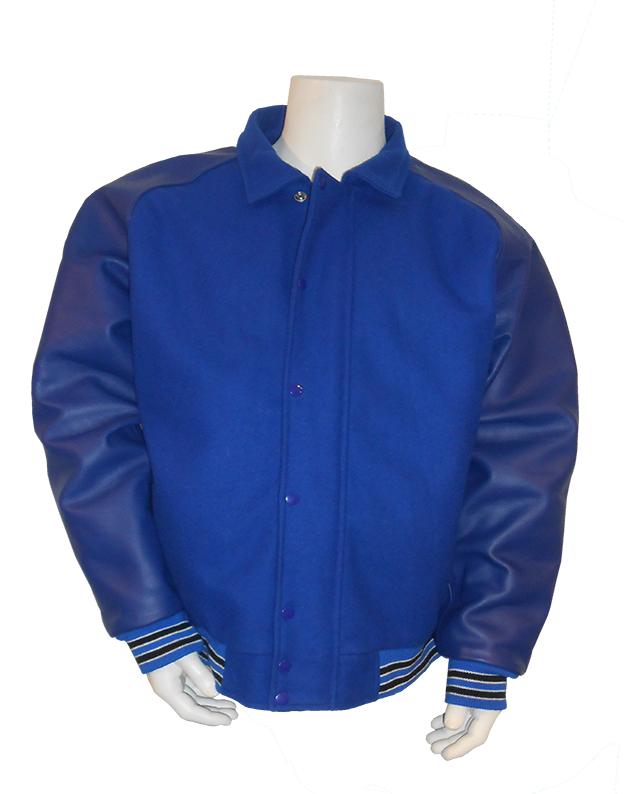Baseball jas Donkerblauw met blauw leren mouwen, overhemd kraag en verborgen rits; 2 zwarte en 4 witte biezen