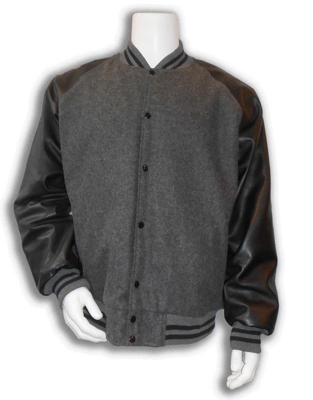 Baseball jas Grijs met zwarte leren mouwen; 2 zwarte biezen