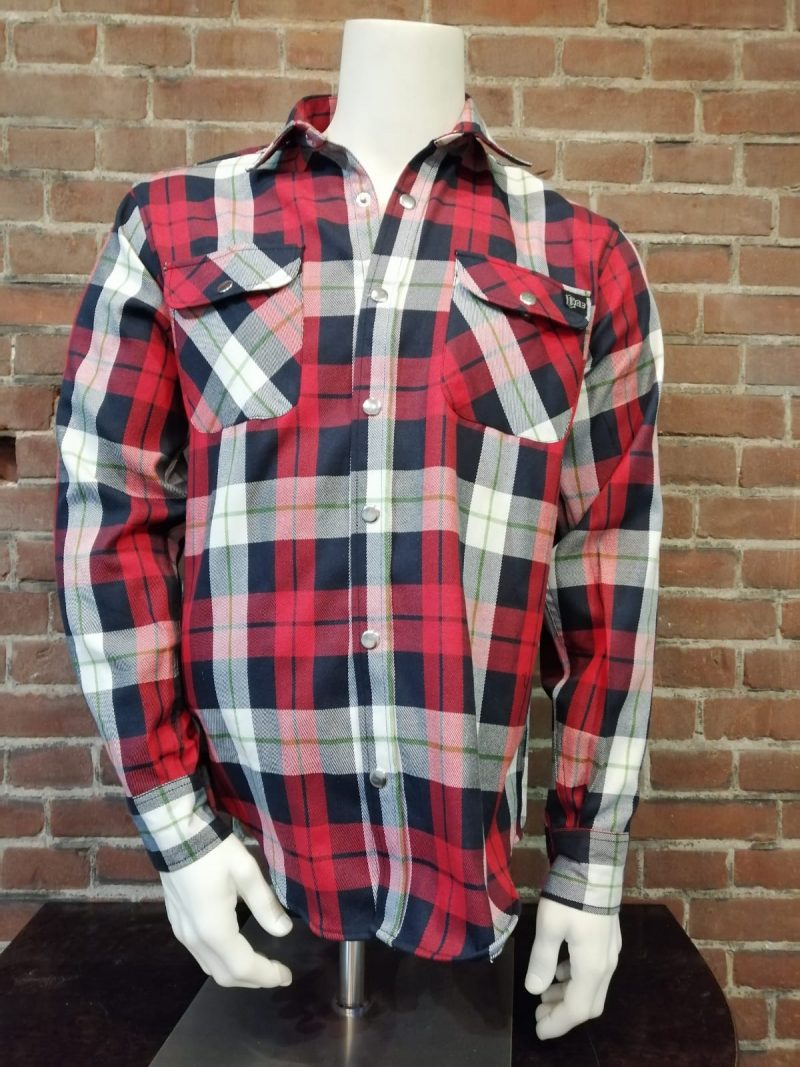 houthakkers blouse blauw rood wit