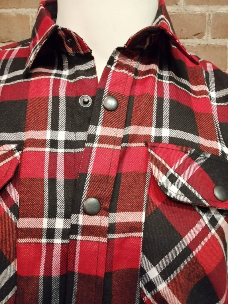 houthakkers blouse rood zwart wit drukknopen