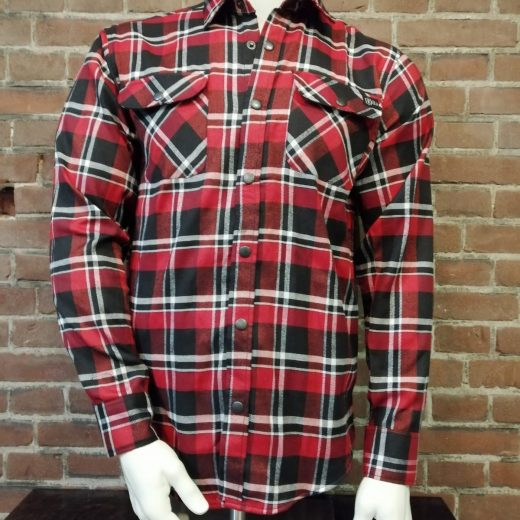 houthakkers blouse rood zwart wit